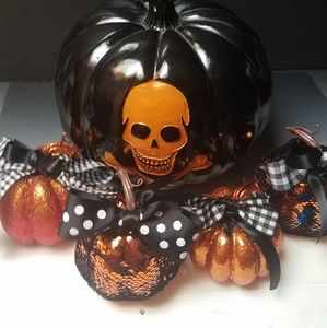 Small decorated pumpkins glitter or sequins